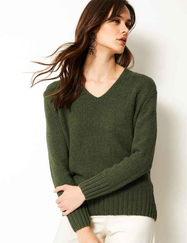 2a16b815ff1 Cotton Rich Textured V-Neck Jumper