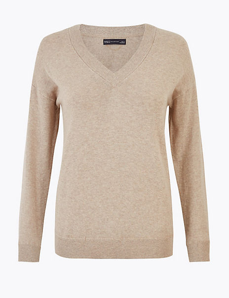 Cotton with Cashmere V-Neck Relaxed Jumper
