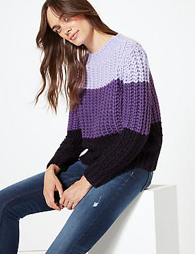 Colour Block Round Neck Jumper, PURPLE, catlanding