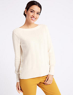 Textured Slash Neck Jumper, CREAM, catlanding