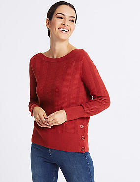 Textured Slash Neck Jumper, CHILLI, catlanding