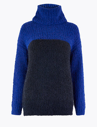 Colour Block Cowl Neck Jumper by 35 Days To Return