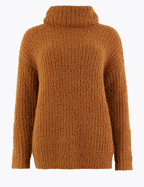 Textured Cowl Neck Jumper