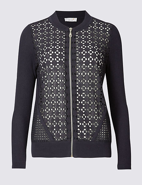 Pure Cotton Lace Bomber Cardigan