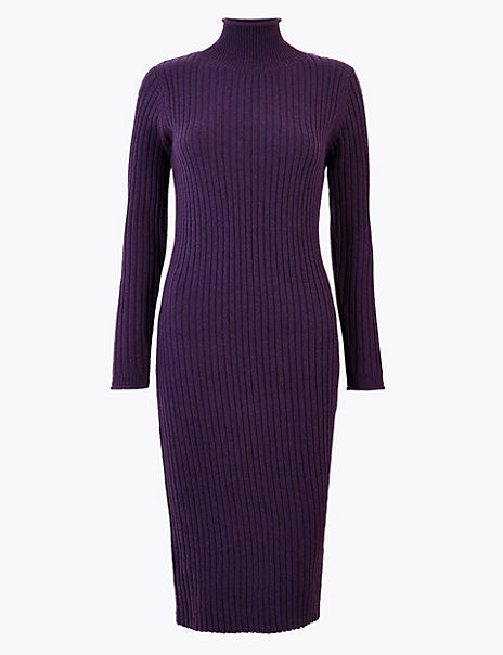 Ribbed Knitted Midi Dress