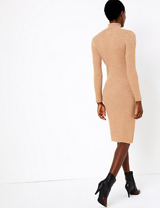 Ribbed Knitted Midi Dress | Dresses & jumpsuits | Marks and