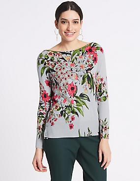 Floral Print Knitted Slash Neck Jumper, GREY, catlanding