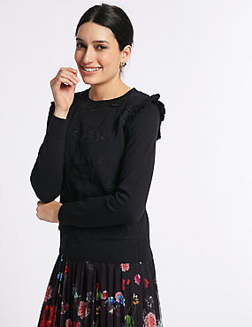Pure Cotton Embroidered Chiffon Front Jumper, BLACK, catlanding