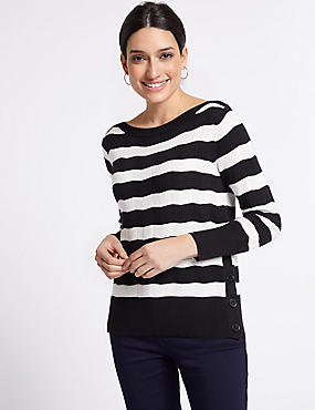 Striped Slash Neck Long Sleeve Jumper, NAVY MIX, catlanding