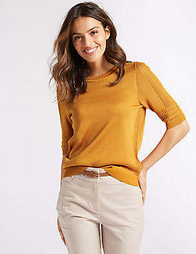 Textured Round Neck Half Sleeve Jumper, PUMPKIN, catlanding