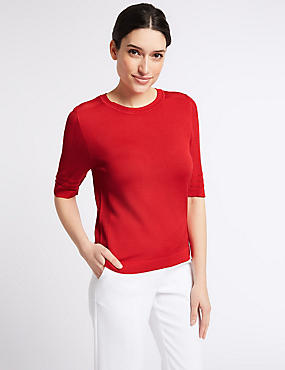 Textured Round Neck Half Sleeve Jumper, , catlanding
