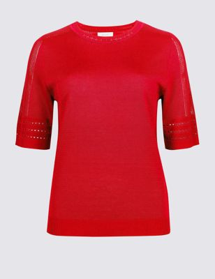Stitch Detail Half Sleeve Jumper by Marks & Spencer