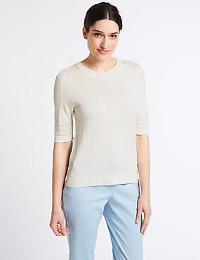Textured Round Neck Half Sleeve Jumper, WINTER WHITE, catlanding