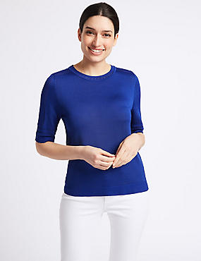 Textured Round Neck Half Sleeve Jumper