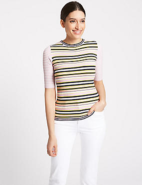 Striped Round Neck Half Sleeve Jumper , MULTI, catlanding