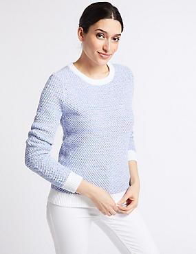 Pure Cotton Textured Yarn Round Neck Jumper , WHITE MIX, catlanding