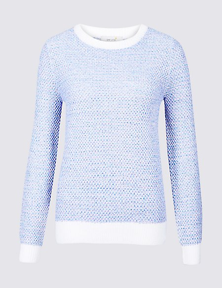 Pure Cotton Textured Yarn Round Neck Jumper