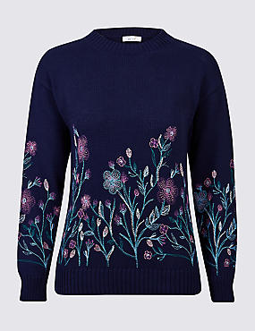 Pure Cotton Embroidered Round Neck Jumper, DARK MIDNIGHT, catlanding