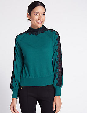 Lace Trim Funnel Neck Jumper