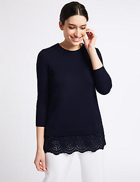 Pure Cotton Embroidered Round Neck Jumper , DARK MIDNIGHT, catlanding