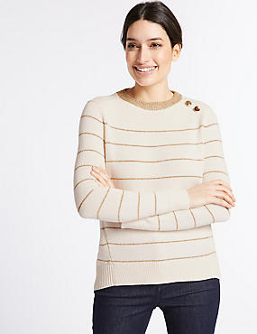 Cotton Rich Striped Round Neck Jumper , CREAM, catlanding