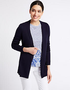 Pure Cotton Embroidered Cardigan , NAVY, catlanding