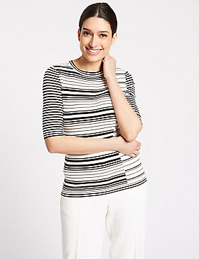 Striped Round Neck Half Sleeve Jumper , BLACK MIX, catlanding