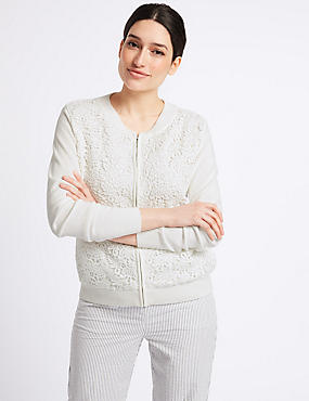 Pure Cotton Lace Long Sleeve Cardigan, SOFT WHITE, catlanding