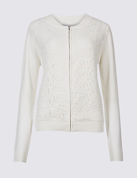 Pure Cotton Lace Long Sleeve Jumper