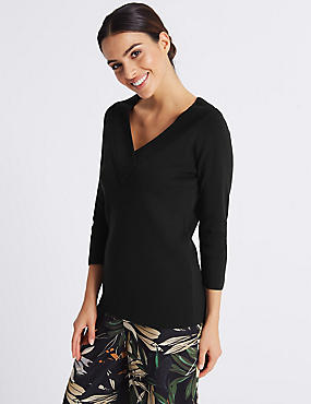 Textured V-Neck 3/4 Sleeve Jumper  , BLACK, catlanding