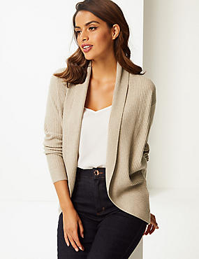 Ribbed Open Front Cardigan  , OATMEAL, catlanding