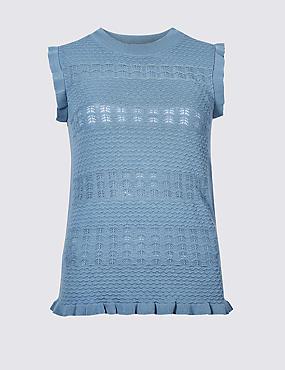 Textured Round Neck Jumper, AZURE BLUE, catlanding