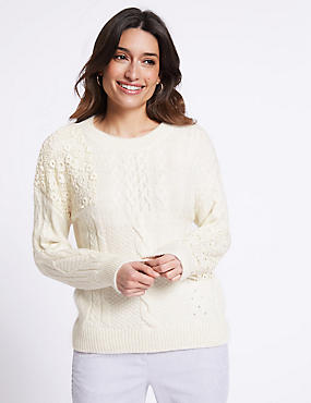 Lace Round Neck Jumper , IVORY, catlanding