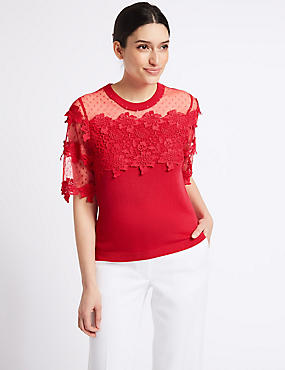 Cotton Bend Lace Round Neck Jumper , BRIGHT RED, catlanding