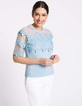 Cotton Bend Lace Round Neck Jumper