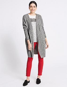 Textured Waterfall Long Sleeve Cardigan , GREY, catlanding