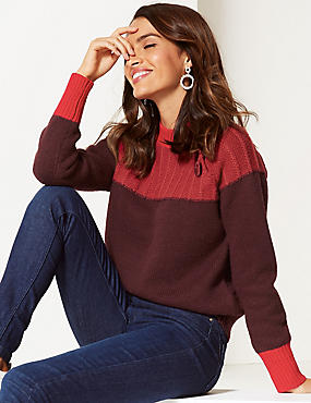 Cotton Blend Colour Block Funnel Neck Jumper, LACQUER RED, catlanding