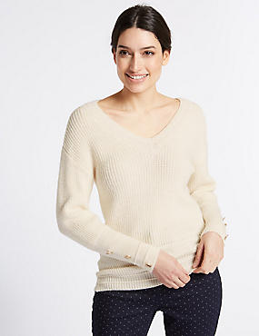 Textured V-Neck Long Sleeve Jumper, CREAM, catlanding
