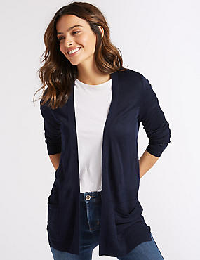 Textured Long Sleeve Cardigan, INDIGO, catlanding