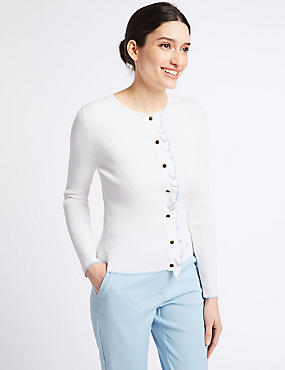 Textured Ruffle Cardigan , WHITE MIX, catlanding