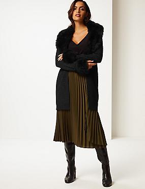 Textured Faux Fur Cardigan