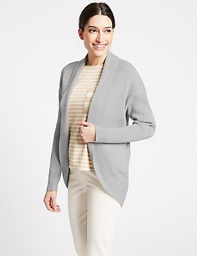 Textured Open Front Cardigan , MID GREY MARL, catlanding