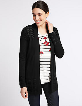 Armadillo Open Front Long Sleeve Cardigan, BLACK, catlanding