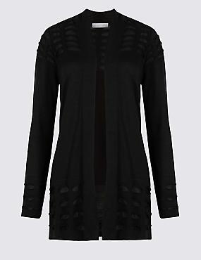 Armadillo Open Front Long Sleeve Cardigan, BLACK, catlanding