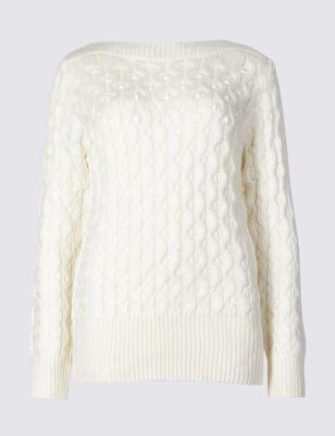 Embellished Slash Neck Jumper by Marks & Spencer