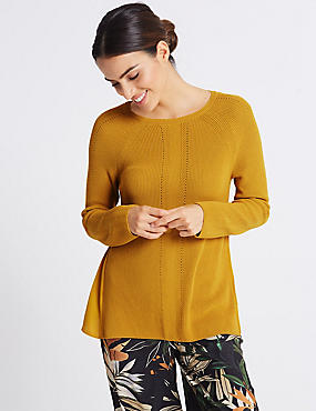 Textured Round Neck Jumper , DARK GOLD, catlanding