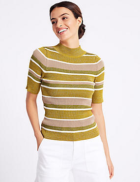 Striped Turtle Neck Short Sleeve Jumper