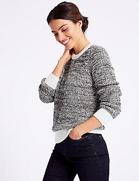 Pure Cotton Textured Round Neck Jumper