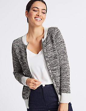 Pure Cotton Textured Cardigan , SOFT WHITE, catlanding