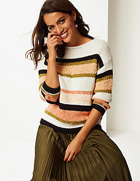 Cotton Rich Striped Round Neck Jumper , MULTI, catlanding